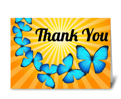 Thank You Butterflies in Sunlight greeting card