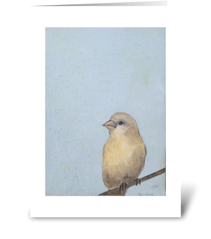 canary on blue greeting card