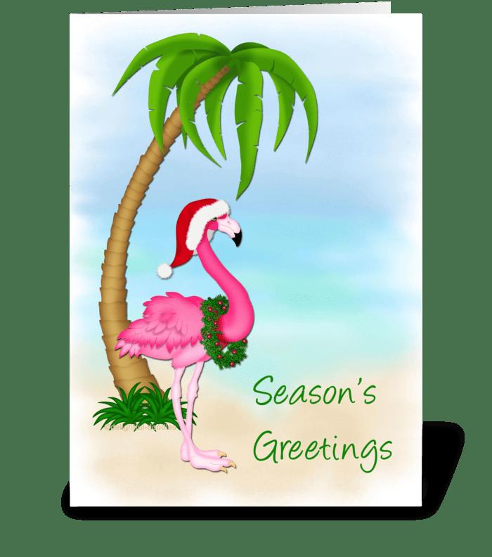 Flamingo, Palm Tree, Christmas  greeting card