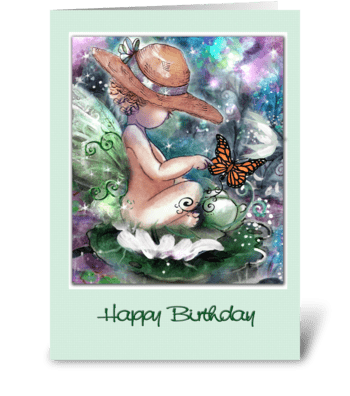 Faery and Butterfly Birthday Greeting greeting card