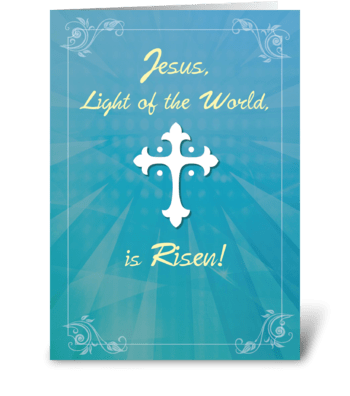 Easter Religious Cross and Rays on Teal greeting card