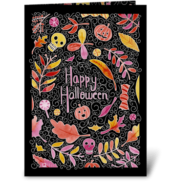 Watercolor Halloween arabesques greeting card