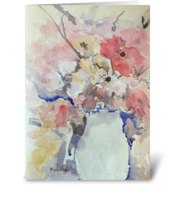 Blooms In a Japanese Watering Can greeting card