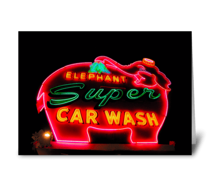 Super Elephant Car Wash greeting card