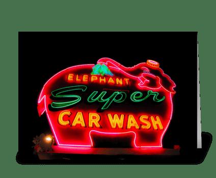 Super Elephant Car Wash greeting card