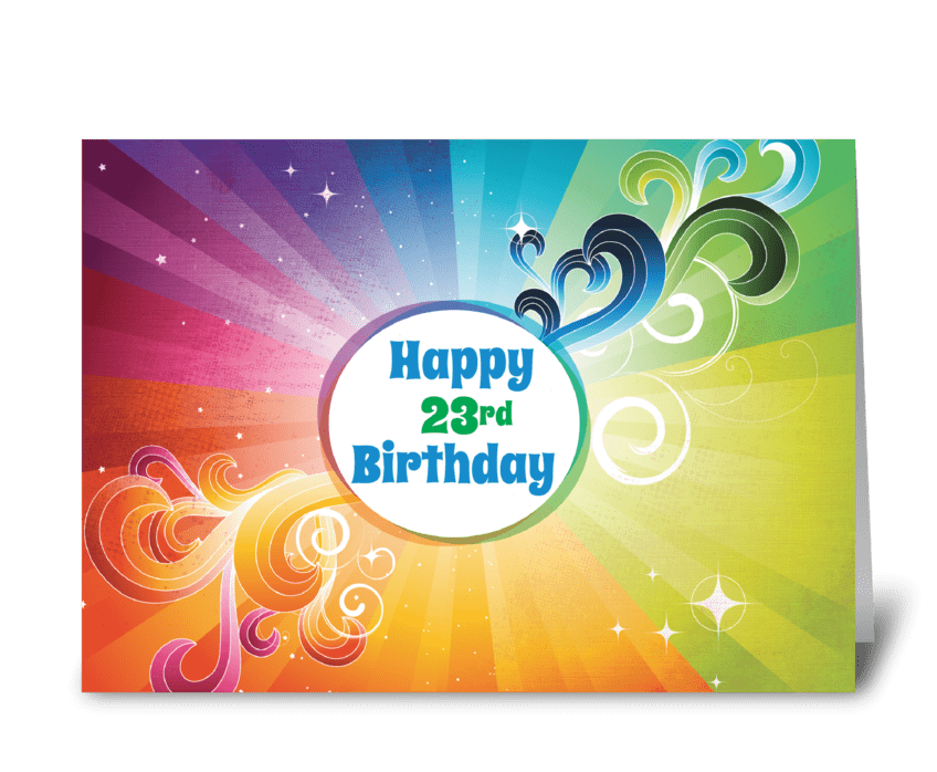 23rd Birthday Religious Card Rainbow greeting card