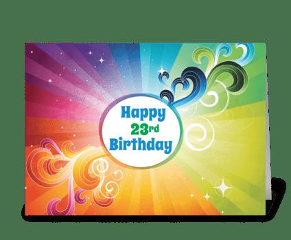 23rd Birthday Religious Card Rainbow greeting card