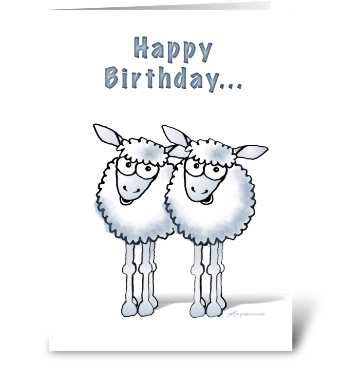 Happy birthday two ewe sheep greeting card