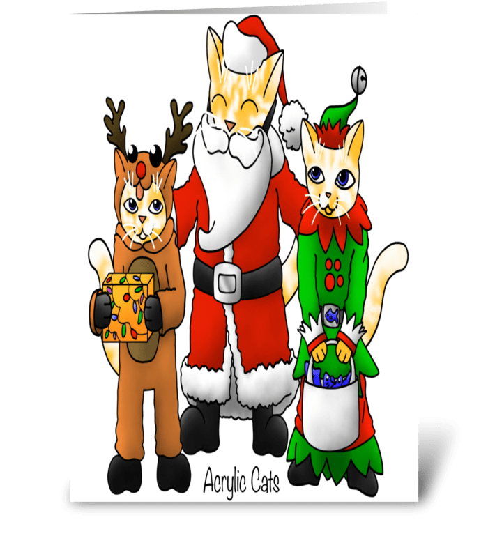 Christmas Costume Shopping Family Cats greeting card