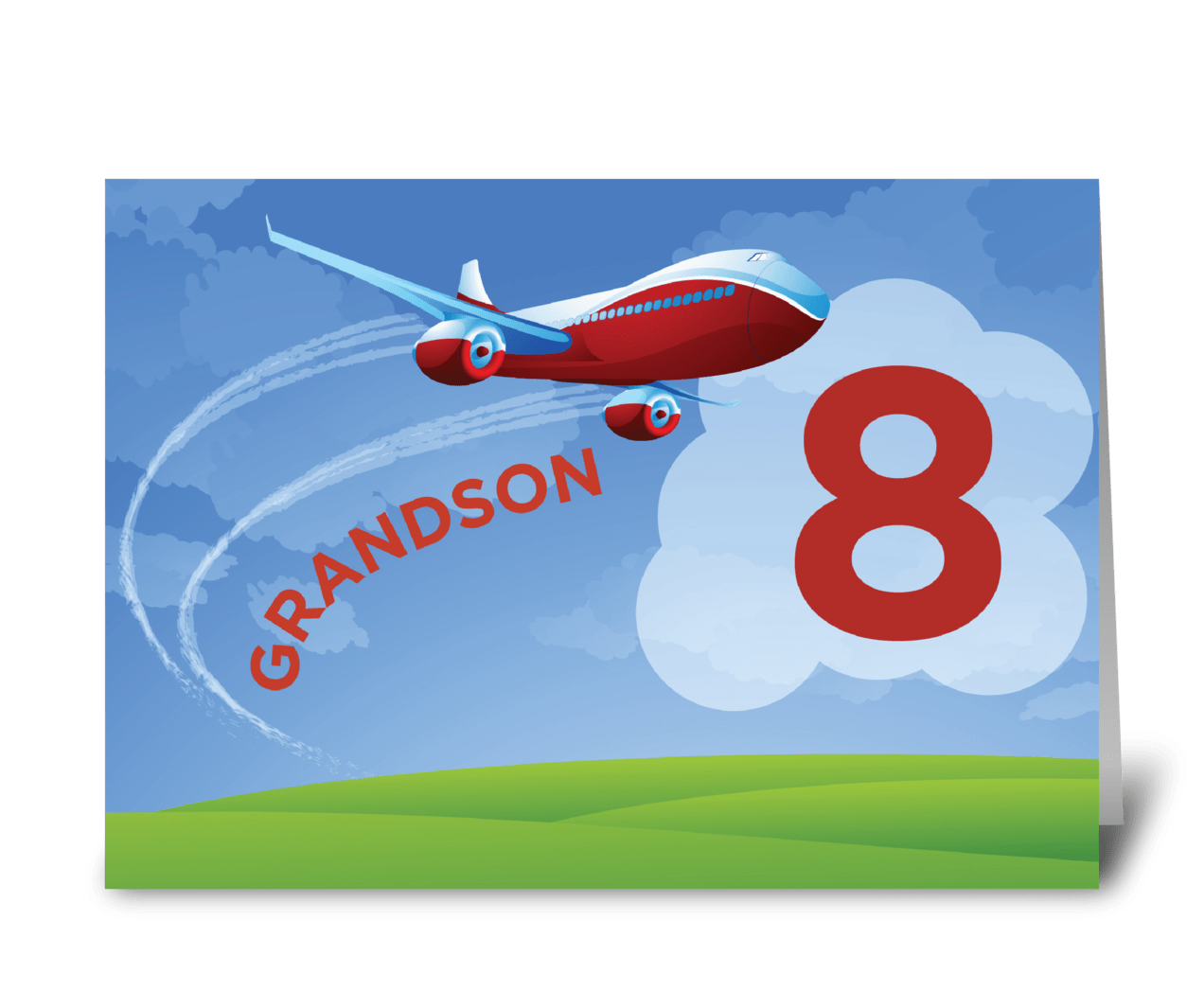 8th Birthday Grandson Red Airplane