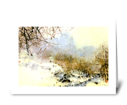 Central Park in Snow by Chen Chi greeting card