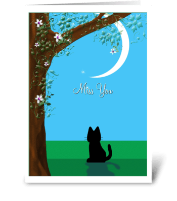 Miss you, Kitty and Moon greeting card