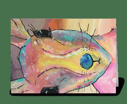 Rabbit Rainbow greeting card