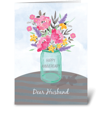 Husband Anniversary Jar Vase with Flower greeting card
