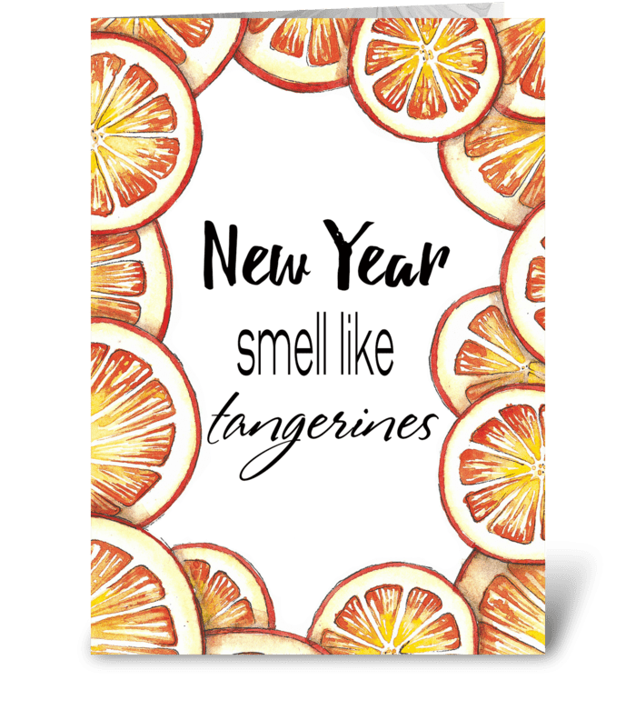 Christmas tangerines greeting card