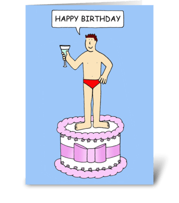 Man in underpants, happy birthday. greeting card