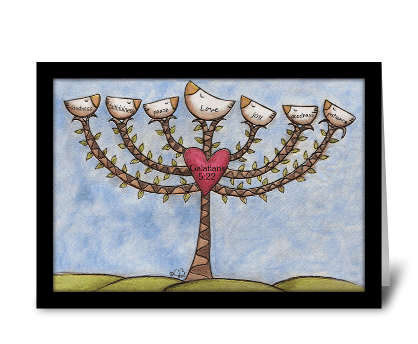 Fruits of the Spirit Menorah Tree greeting card