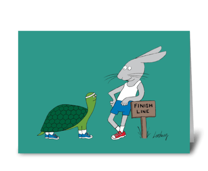 Tortoise & Hare Catch Up greeting card