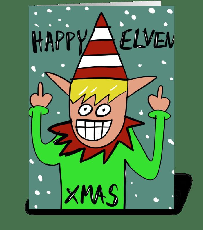 Happy Elven Xmas greeting card