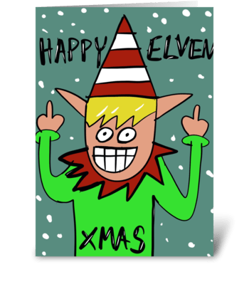 Happy Elven Xmas greeting card