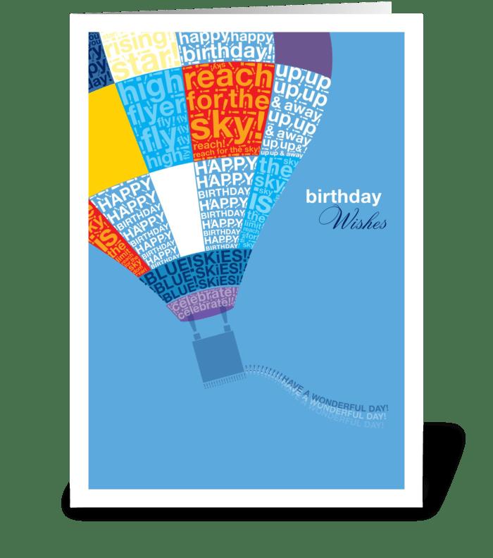 Bithday Hot Air Balloon greeting card