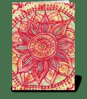Sunflower Mandala greeting card