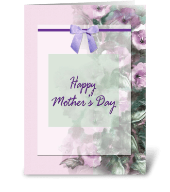 Happy Mother's Day, bow and flowers greeting card