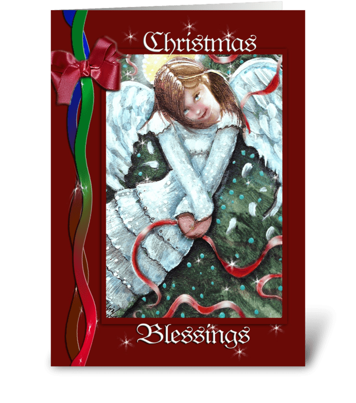 A Christmas Blessing, Angel ART greeting card