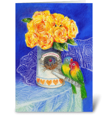 Engagement Congratulations Lovebirds greeting card
