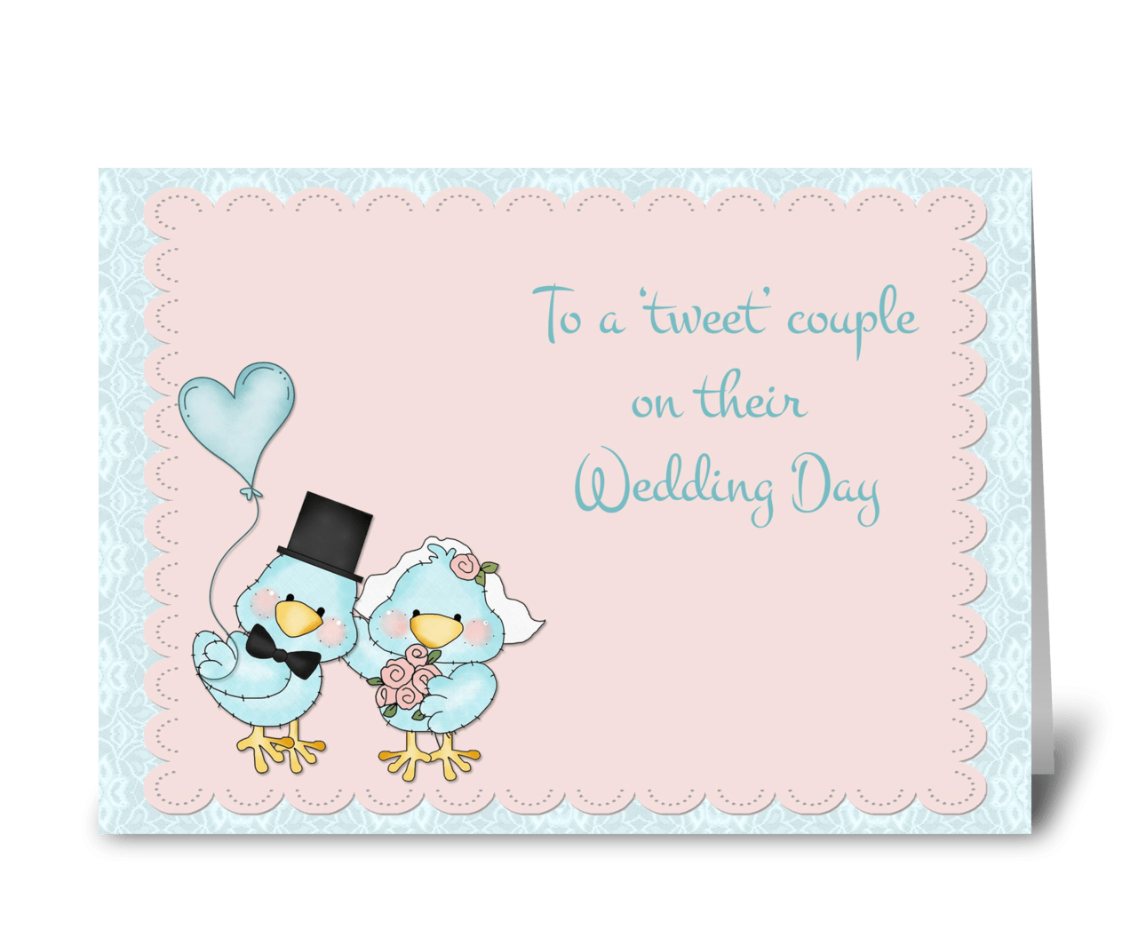 Wedding Greeting Cards.Blue Birds Wedding Congratulations