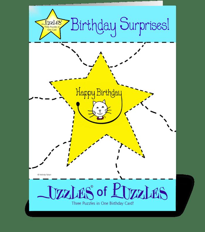Smiley Birthday Cat greeting card