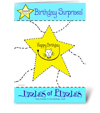 Smiley Birthday Cat greeting card