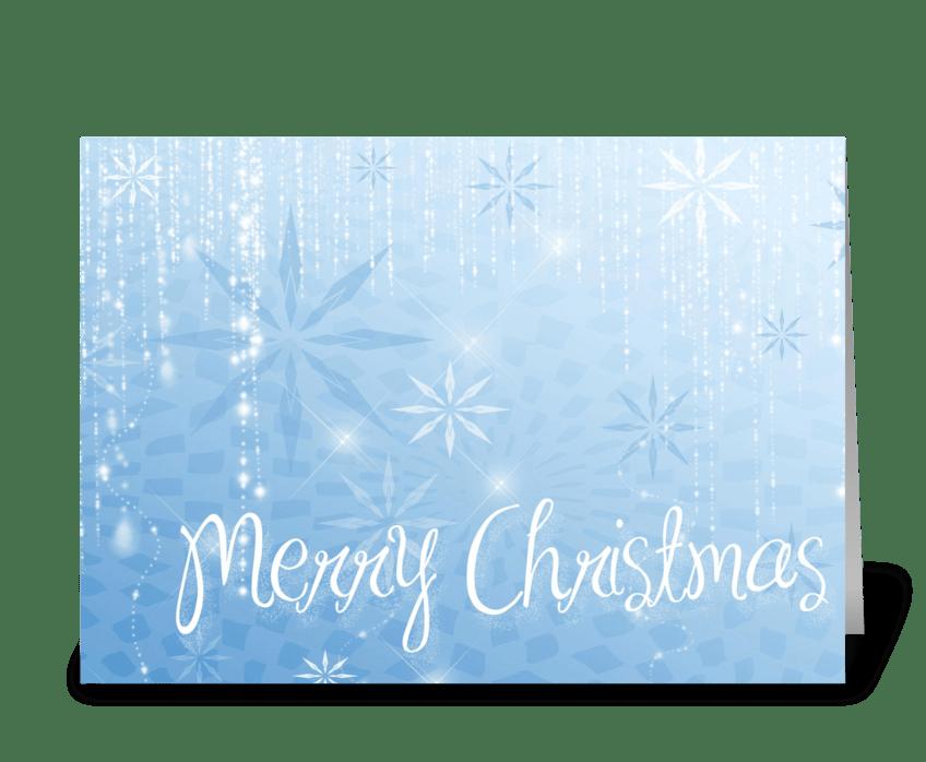 Blue Snowflake Sparkle Merry Christmas greeting card