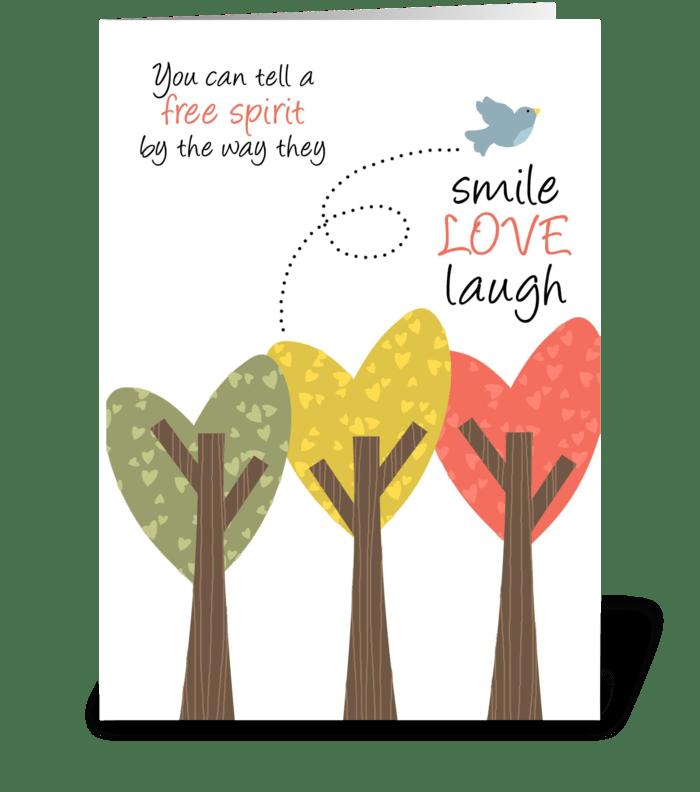 Free Spirit Birthday greeting card