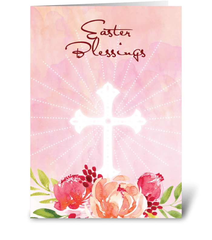 Easter Blessings Pink Flowers with Cross greeting card
