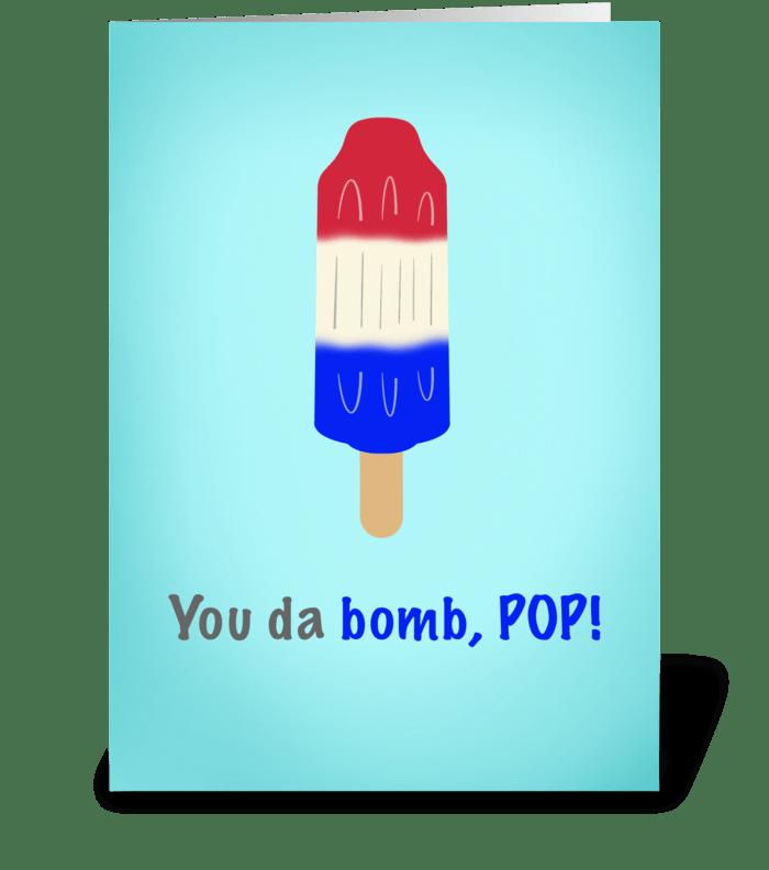 You da bomb pop greeting card