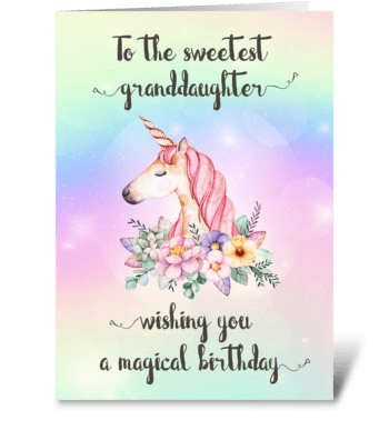 Unicorn Birthday Card for Granddaughter greeting card