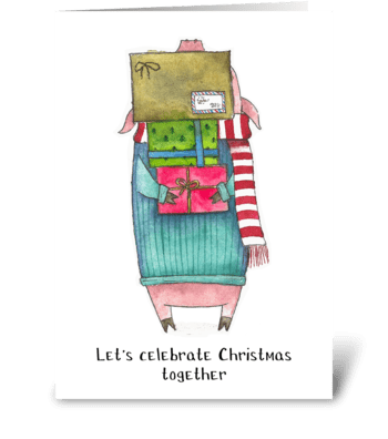 Pig gives gifts greeting card