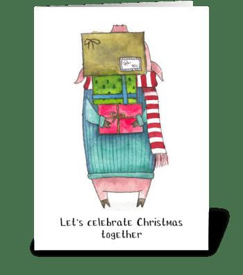 Pig gives gifts greeting card