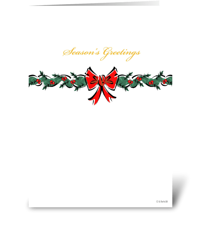 Christmas Bow Christmas Card greeting card