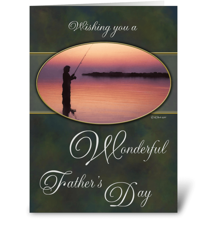 Father's Day Card - Fishing at Sunset greeting card