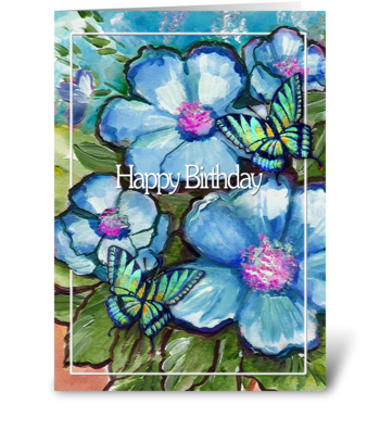 Birthday flowers and Butterflies greeting card