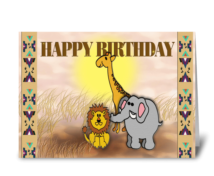 safari animals, Happy Birthday greeting card
