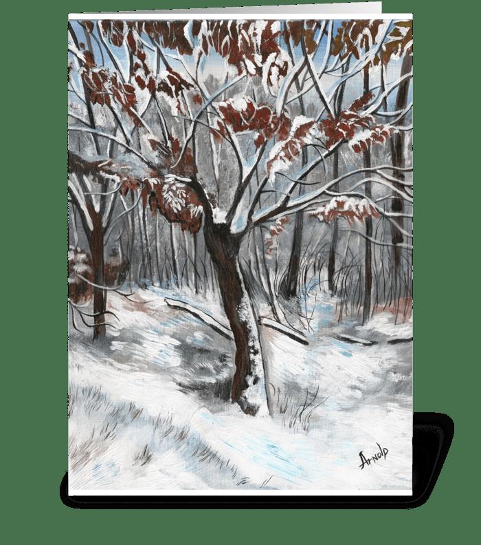 Snow on an Oak Tree Christmas Card greeting card