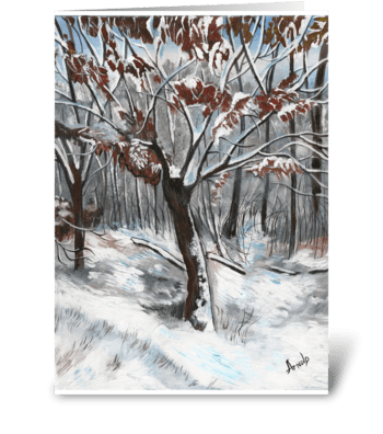 Snow on an Oak Tree Christmas Card greeting card