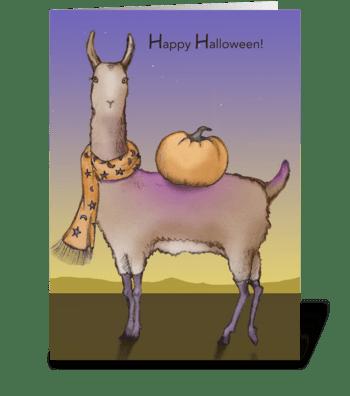 Halloween Llama greeting card
