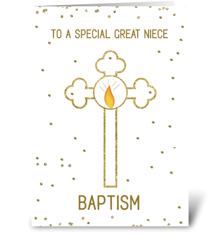Great Niece Baptism Gold Cross greeting card