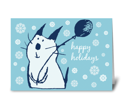 Christmas Party Cat greeting card