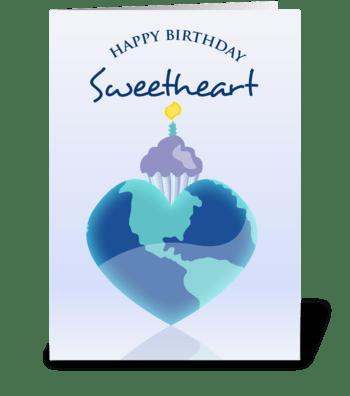 Heart Globe and Cupcake - Happy Birthday greeting card