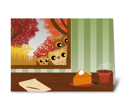 Autumn window owls greeting card